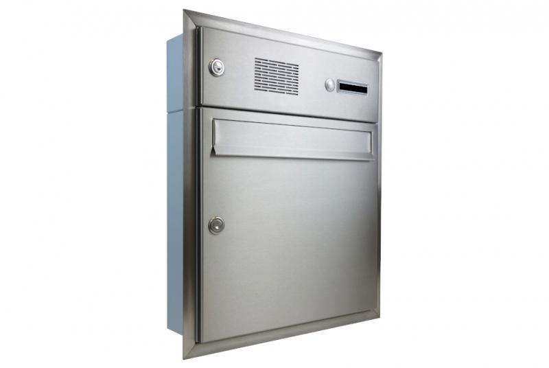 POŠTOVNÍ SCHRÁNKY DO SLOUPKU OPLOCENÍ - 1x poštovní schránka A-01 k zazdění do sloupku s 1x zvonkem a HM ABB + orámování L profilem - NEREZ / šedá