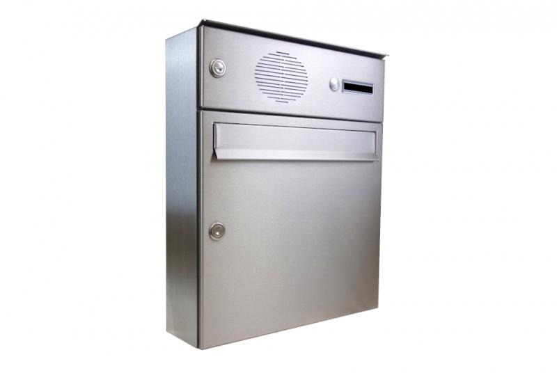 POŠTOVNÍ SCHRÁNKY DO SLOUPKU OPLOCENÍ - 1x poštovní schránka A-01 pro montáž na povrch s 1x zvonkem a HM URMET + opláštění - NEREZ / šedá