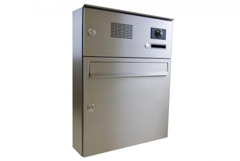 POŠTOVNÍ SCHRÁNKY DO SLOUPKU OPLOCENÍ - 1x poštovní schránka A-01 pro montáž na povrch s 1x zvonkem a kamerou ABB + opláštění - NEREZ / šedá