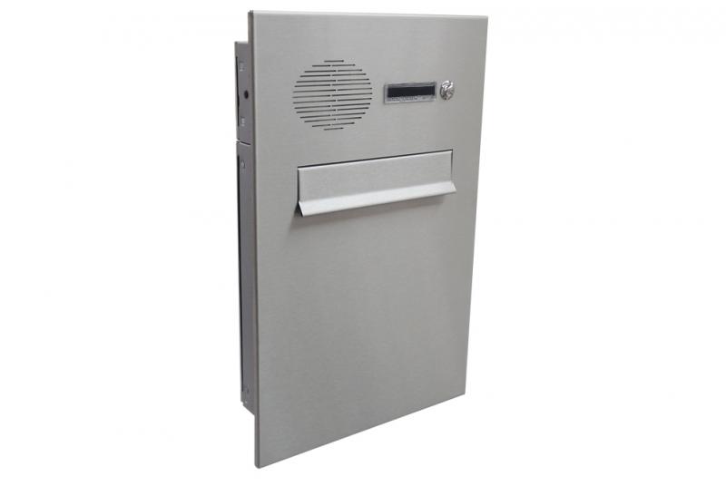POŠTOVNÍ SCHRÁNKY DO PLOTU A BRANKY - 1x poštovní schránka typu A (260x330x100) do plotu a branky + čelní deska se zvonkem a HM URMET - NEREZ / šedá