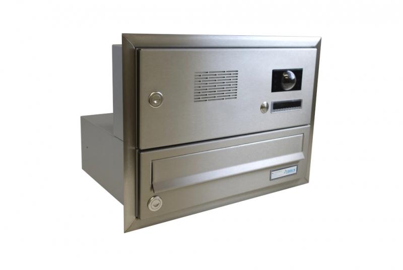 POŠTOVNÍ SCHRÁNKY DO SLOUPKU OPLOCENÍ - 1x poštovní schránka B-017 k zazdění do sloupku s 1x zvonkem a kamerou ABB + orámování L profilem - NEREZ / šedá