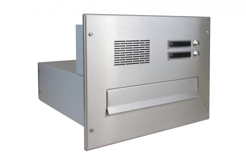 POŠTOVNÍ SCHRÁNKY DO SLOUPKU OPLOCENÍ - 1x poštovní schránka B-04 k zazdění do sloupku + čelní deska s 2x zvonkem a HM ABB - NEREZ / šedá