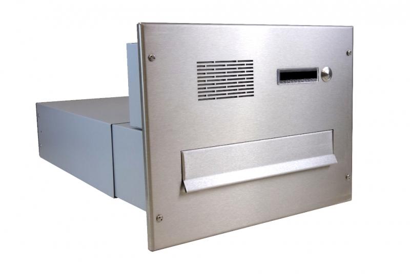 POŠTOVNÍ SCHRÁNKY DO SLOUPKU OPLOCENÍ - 1x poštovní schránka B-042 k zazdění do sloupku + čelní deska s 1x zvonkem a HM ABB - NEREZ / šedá