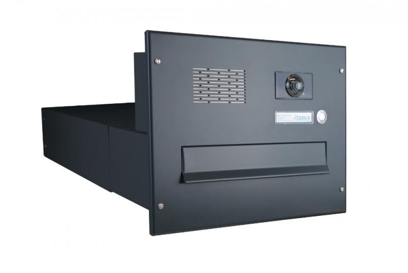 POŠTOVNÍ SCHRÁNKY DO SLOUPKU OPLOCENÍ - 1x poštovní schránka B-042 k zazdění do sloupku + čelní deska s 1x zvonkem a kamerou ABB - lakovaná RAL 7016 antracit