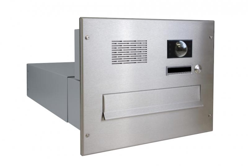 POŠTOVNÍ SCHRÁNKY DO SLOUPKU OPLOCENÍ - 1x poštovní schránka B-042 k zazdění do sloupku + čelní deska s 1x zvonkem a kamerou ABB - NEREZ / šedá
