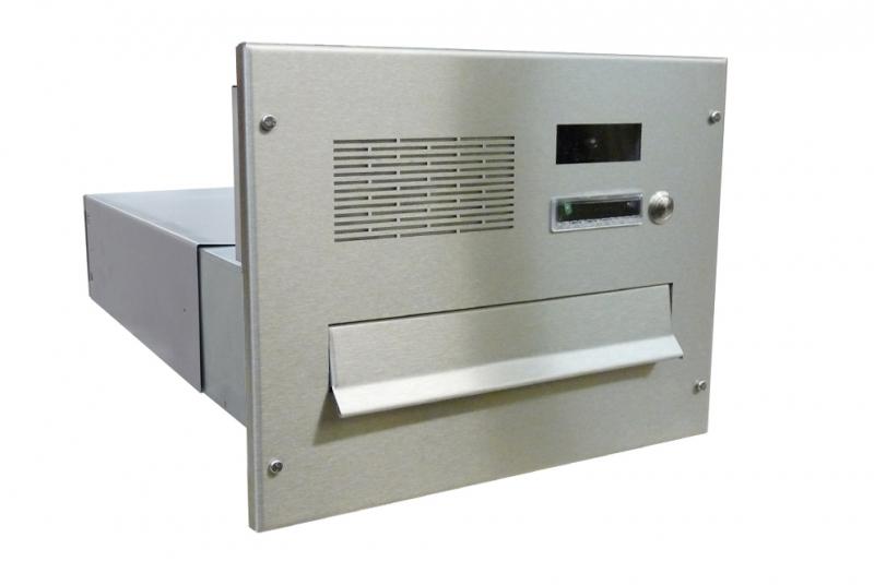 POŠTOVNÍ SCHRÁNKY DO SLOUPKU OPLOCENÍ - 1x poštovní schránka B-042 k zazdění do sloupku + čelní deska s 1x zvonkem a kamerou URMET - digitální systém 2voice - NEREZ