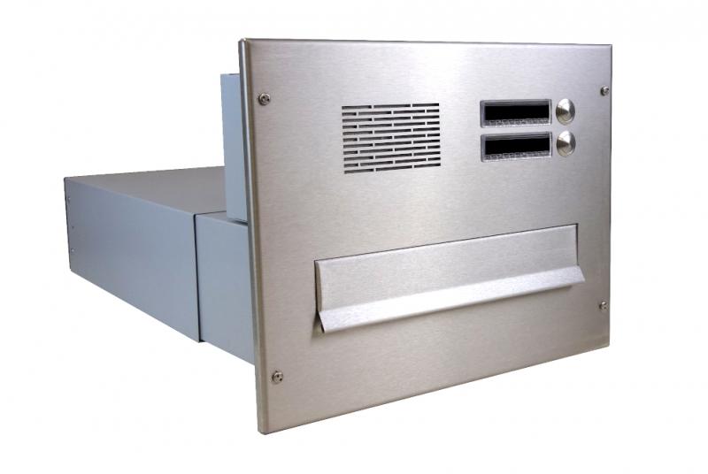POŠTOVNÍ SCHRÁNKY DO SLOUPKU OPLOCENÍ - 1x poštovní schránka B-042 k zazdění do sloupku + čelní deska s 2x zvonkem a HM ABB - NEREZ / šedá