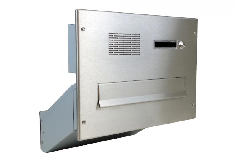 POŠTOVNÍ SCHRÁNKY DO SLOUPKU OPLOCENÍ - 1x poštovní schránka D-041 k zazdění do sloupku + čelní deska s 1x zvonkem a HM ABB - NEREZ / šedá
