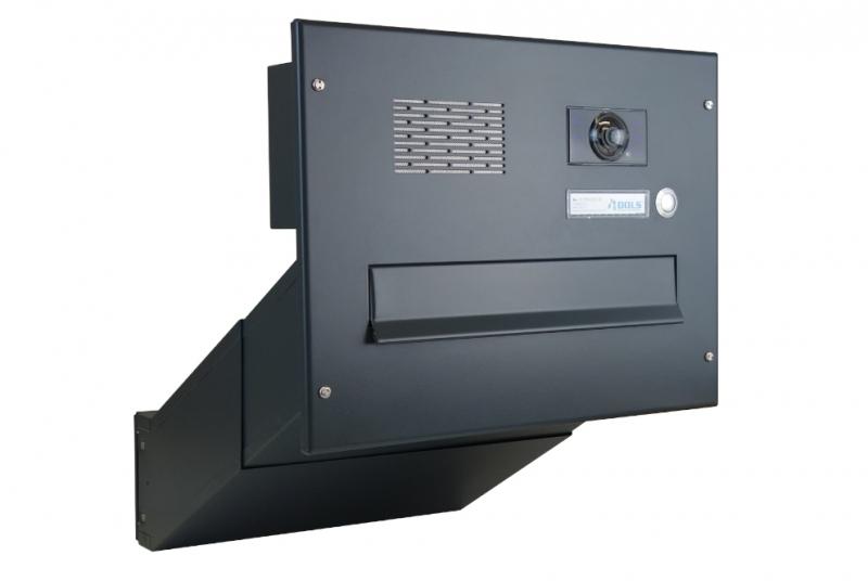 POŠTOVNÍ SCHRÁNKY DO SLOUPKU OPLOCENÍ - 1x poštovní schránka D-041 k zazdění do sloupku + čelní deska s 1x zvonkem a kamerou ABB - lakovaná RAL 7016 antracit