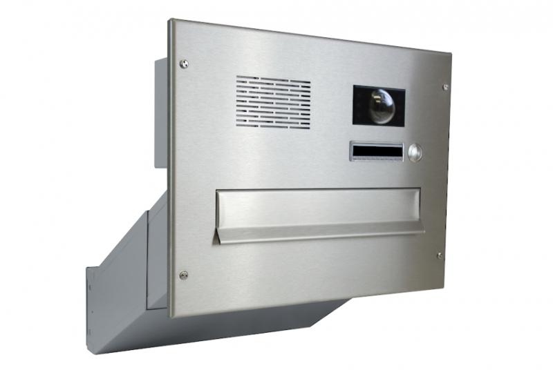 POŠTOVNÍ SCHRÁNKY DO SLOUPKU OPLOCENÍ - 1x poštovní schránka D-041 k zazdění do sloupku + čelní deska s 1x zvonkem a kamerou ABB - NEREZ / šedá