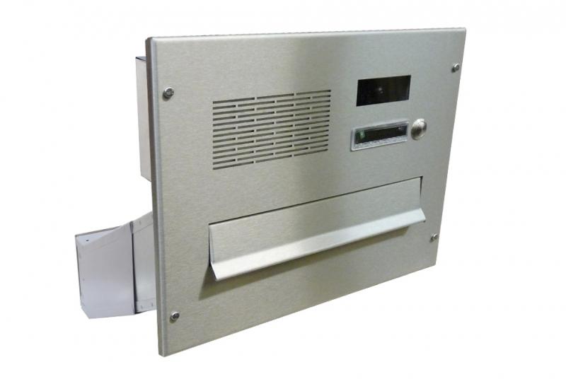 POŠTOVNÍ SCHRÁNKY DO SLOUPKU OPLOCENÍ - 1x poštovní schránka D-041 k zazdění do sloupku + čelní deska s 1x zvonkem a kamerou URMET - analogový systém 4+n - NEREZ