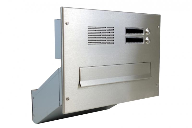 POŠTOVNÍ SCHRÁNKY DO SLOUPKU OPLOCENÍ - 1x poštovní schránka D-041 k zazdění do sloupku + čelní deska s 2x zvonkem a HM ABB - NEREZ / šedá