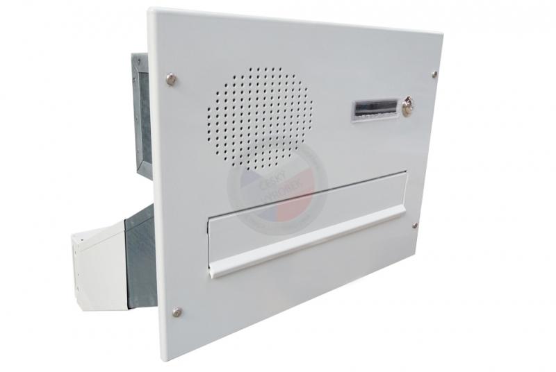 VÝPRODEJ - 1x poštovní schránka D-041 šikmá k zazdění do sloupku + čelní deska se 1x zvonkem a přípravou pro HM - RAL 9016 bílá