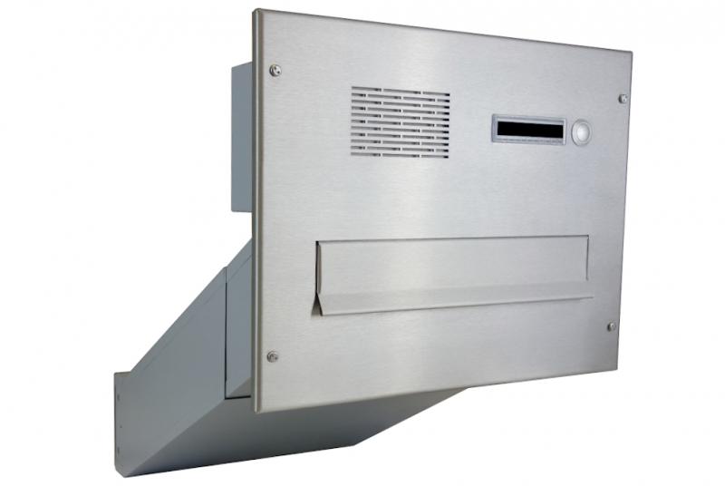 POŠTOVNÍ SCHRÁNKY DO SLOUPKU OPLOCENÍ - 1x poštovní schránka D-042 k zazdění do sloupku + čelní deska s 1x zvonkem a HM ABB - NEREZ / šedá