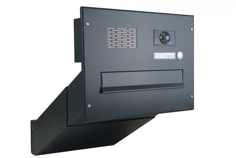 POŠTOVNÍ SCHRÁNKY DO SLOUPKU OPLOCENÍ - 1x poštovní schránka D-042 k zazdění do sloupku + čelní deska s 1x zvonkem a kamerou ABB - lakovaná RAL 7016 antracit