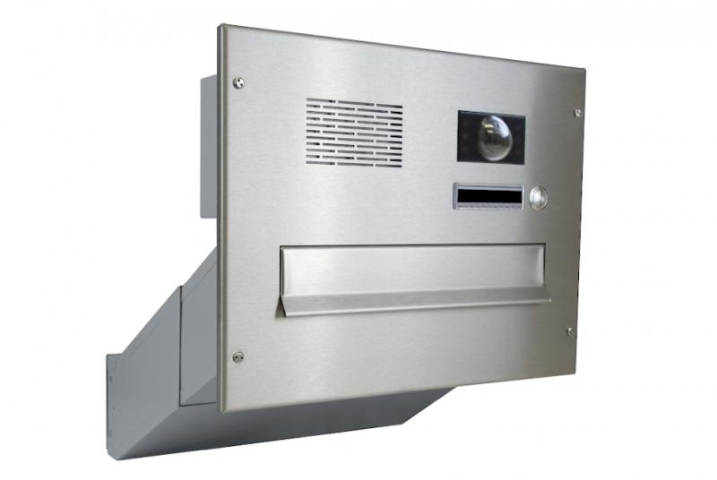 POŠTOVNÍ SCHRÁNKY DO SLOUPKU OPLOCENÍ - 1x poštovní schránka D-042 k zazdění do sloupku + čelní deska s 1x zvonkem a kamerou ABB - NEREZ / šedá