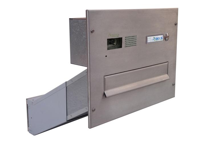 POŠTOVNÍ SCHRÁNKY DO SLOUPKU OPLOCENÍ - 1x poštovní schránka D-042 k zazdění do sloupku + čelní deska s 1x zvonkem a kamerou GOLMAR - analogový systém - NEREZ