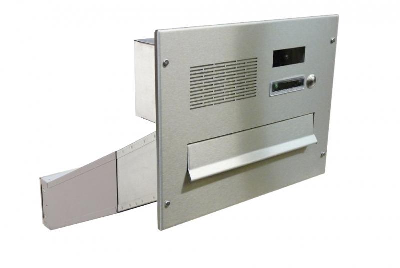 POŠTOVNÍ SCHRÁNKY DO SLOUPKU OPLOCENÍ - 1x poštovní schránka D-042 k zazdění do sloupku + čelní deska s 1x zvonkem a kamerou URMET - analogový systém 4+n - NEREZ