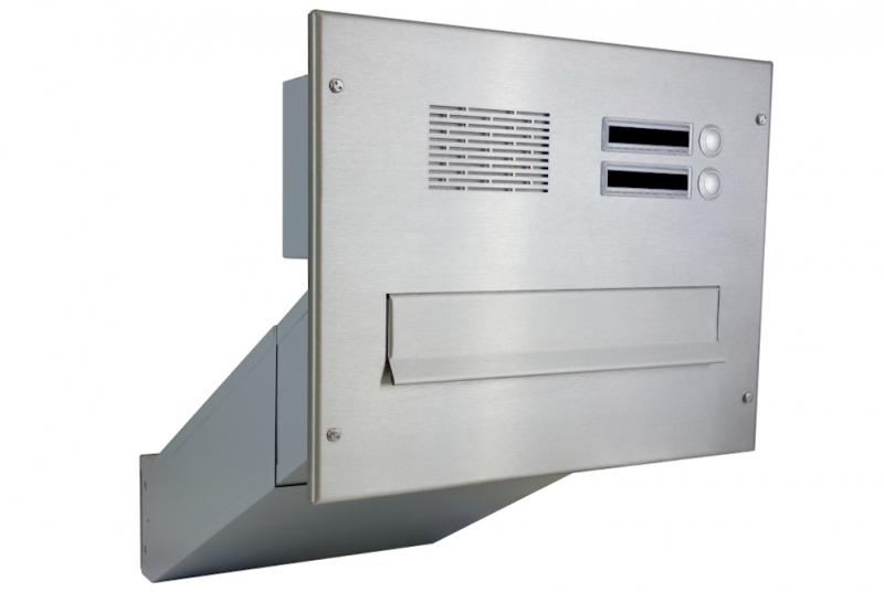 POŠTOVNÍ SCHRÁNKY DO SLOUPKU OPLOCENÍ - 1x poštovní schránka D-042 k zazdění do sloupku + čelní deska s 2x zvonkem a HM ABB - NEREZ / šedá