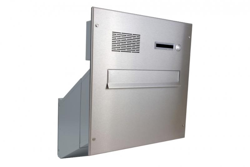 POŠTOVNÍ SCHRÁNKY DO SLOUPKU OPLOCENÍ - 1x poštovní schránka D-241 k zazdění do sloupku + čelní deska s 1x zvonkem a HM ABB - NEREZ / šedá