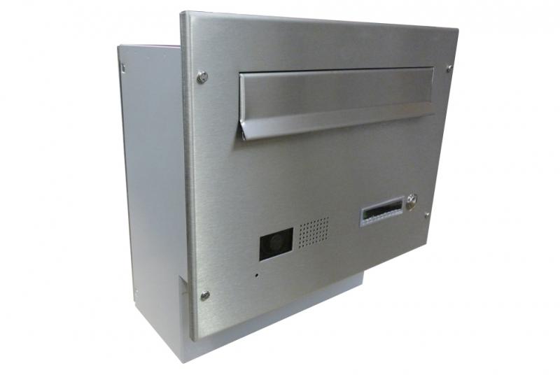POŠTOVNÍ SCHRÁNKY DO SLOUPKU OPLOCENÍ - 1x poštovní schránka F-04 k zazdění do sloupku + čelní deska s 1x zvonkem a kamerou GOLMAR - analogový systém - NEREZ