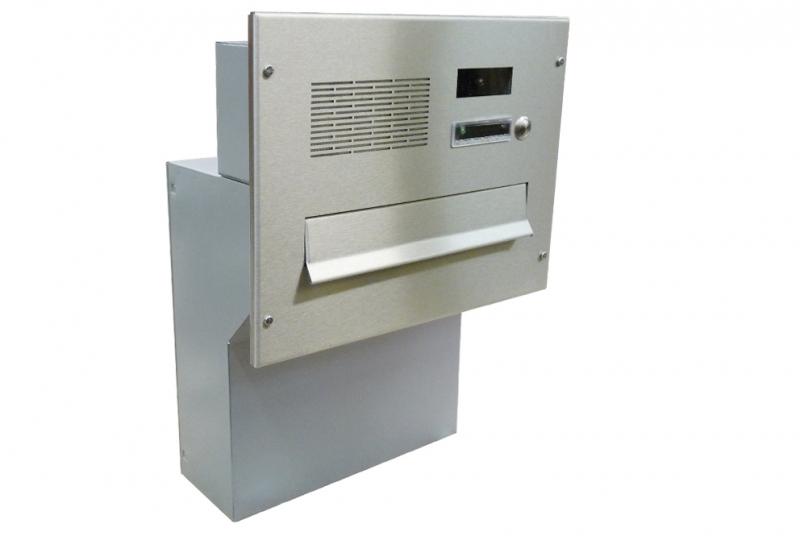 POŠTOVNÍ SCHRÁNKY DO SLOUPKU OPLOCENÍ - 1x poštovní schránka F-04 k zazdění do sloupku + čelní deska s 1x zvonkem a kamerou URMET - analogový systém 4+n - NEREZ