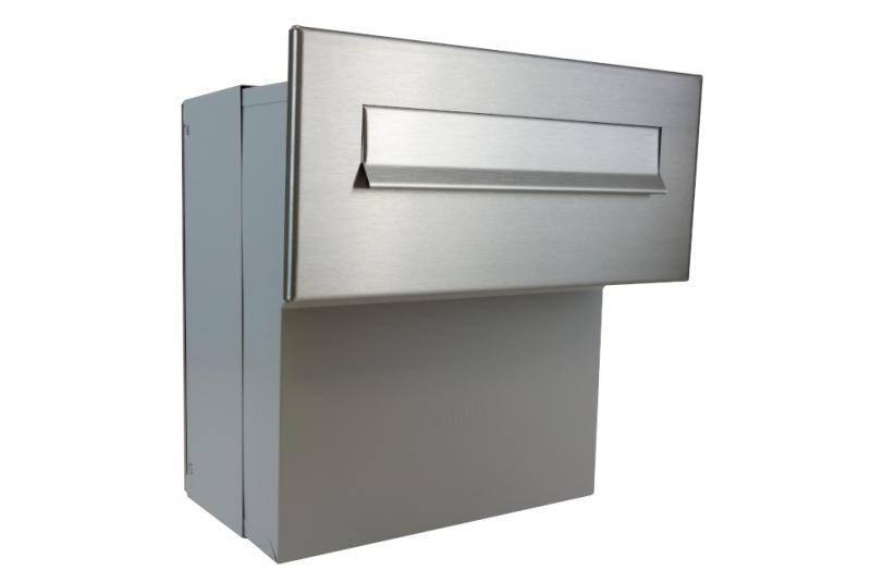 POŠTOVNÍ SCHRÁNKY DO SLOUPKU OPLOCENÍ - 1x poštovní schránka F-041 k zazdění do sloupku + čelní deska bez jmenovky ČD-4 - NEREZ / šedá