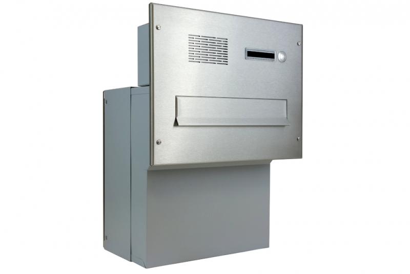 POŠTOVNÍ SCHRÁNKY DO SLOUPKU OPLOCENÍ - 1x poštovní schránka F-041 k zazdění do sloupku + čelní deska s 1x zvonkem a HM ABB - NEREZ / šedá
