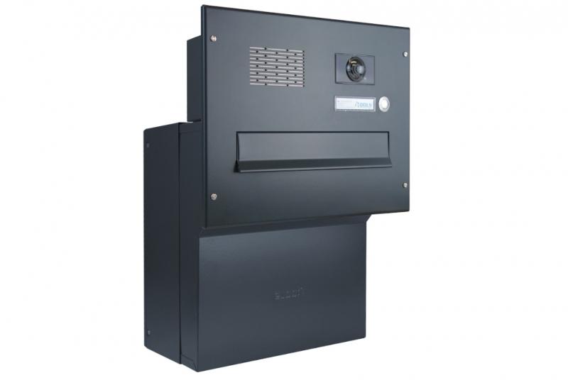 POŠTOVNÍ SCHRÁNKY DO SLOUPKU OPLOCENÍ - 1x poštovní schránka F-041 k zazdění do sloupku + čelní deska s 1x zvonkem a kamerou ABB - lakovaná RAL 7016 antracit