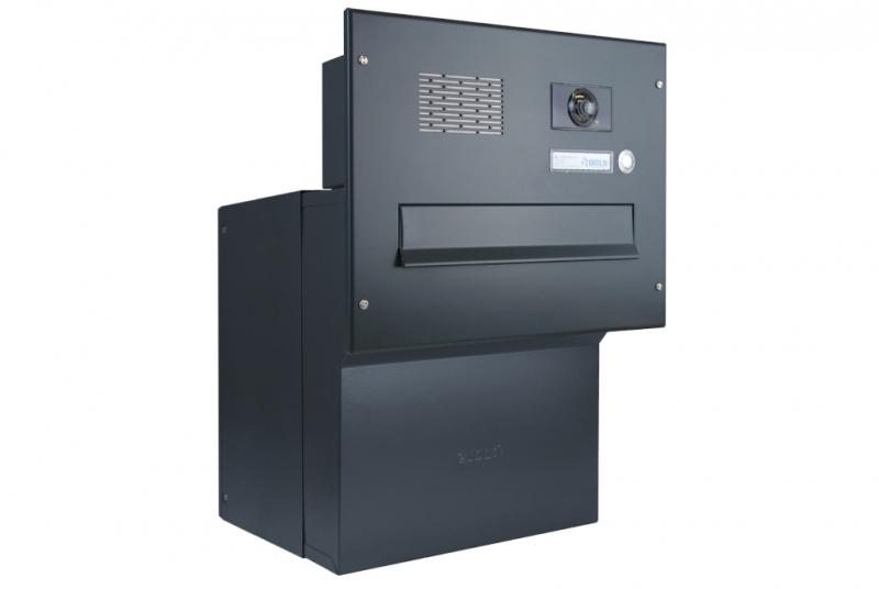 POŠTOVNÍ SCHRÁNKY DO SLOUPKU OPLOCENÍ - 1x poštovní schránka F-042 k zazdění do sloupku + čelní deska s 1x zvonkem a kamerou ABB - lakovaná RAL 7016 antracit