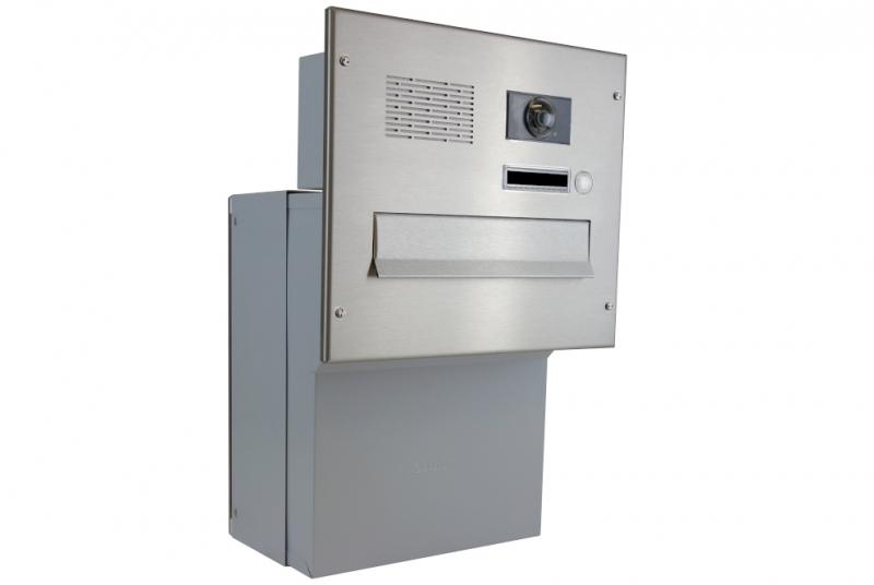 POŠTOVNÍ SCHRÁNKY DO SLOUPKU OPLOCENÍ - 1x poštovní schránka F-046 k zazdění do sloupku + čelní deska s 1x zvonkem a kamerou ABB - NEREZ / šedá