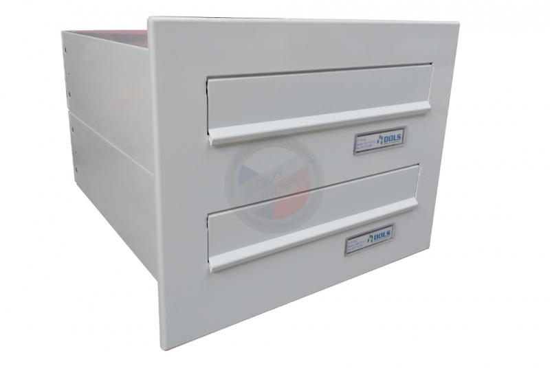 VÝPRODEJ - 2x poštovní schránka B-04 rovná k zazdění do sloupku + čelní deska - RAL 9016 bílá
