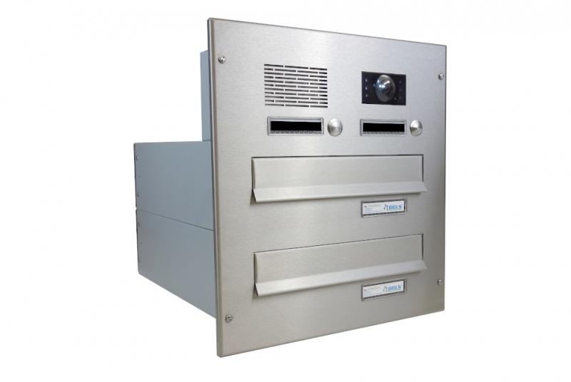 POŠTOVNÍ SCHRÁNKY DO SLOUPKU OPLOCENÍ - 2x poštovní schránka B-042 k zazdění do sloupku + čelní deska s 2x zvonkem a kamerou ABB - NEREZ / šedá