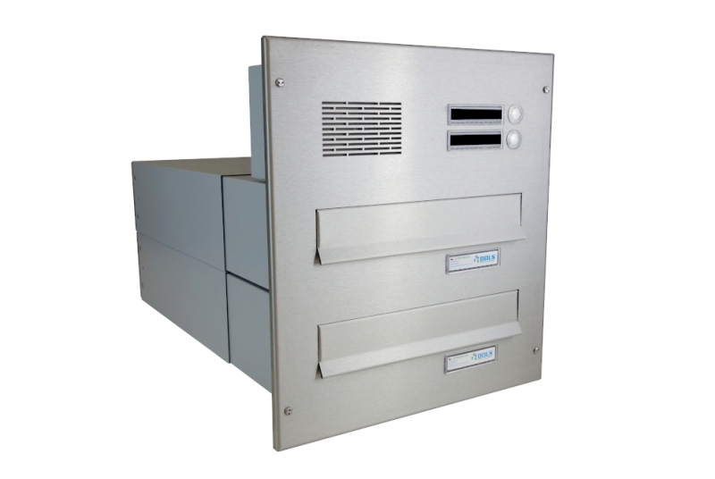 POŠTOVNÍ SCHRÁNKY DO SLOUPKU OPLOCENÍ - 2x poštovní schránka B-042 k zazdění do sloupku + čelní deska s 2x zvonkem a HM ABB - NEREZ / šedá