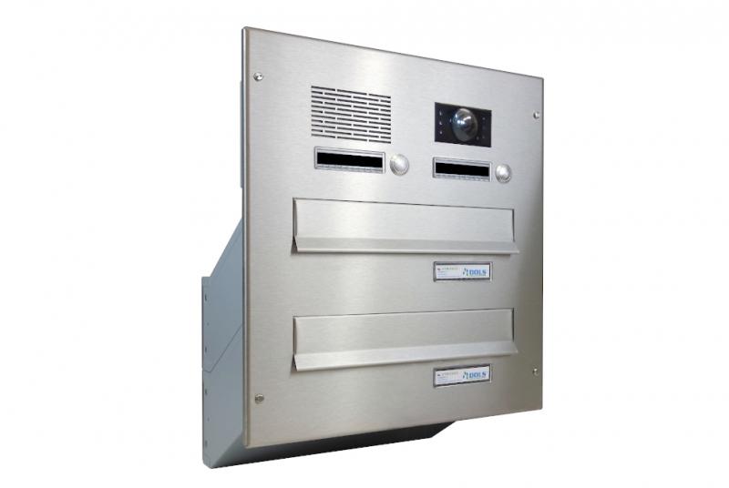 POŠTOVNÍ SCHRÁNKY DO SLOUPKU OPLOCENÍ - 2x poštovní schránka D-041 k zazdění do sloupku + čelní deska s 2x zvonkem a kamerou ABB - NEREZ / šedá
