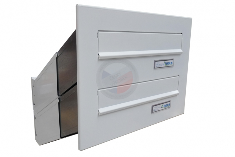 VÝPRODEJ - 2x poštovní schránka D-041 šikmá k zazdění do sloupku + čelní deska - RAL 9016 bílá