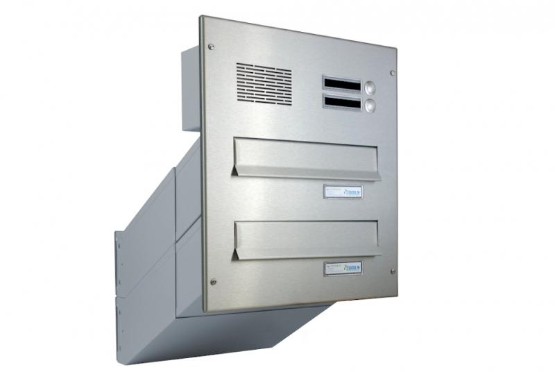POŠTOVNÍ SCHRÁNKY DO SLOUPKU OPLOCENÍ - 2x poštovní schránka D-041 k zazdění do sloupku + čelní deska s 2x zvonkem a HM ABB - NEREZ / šedá