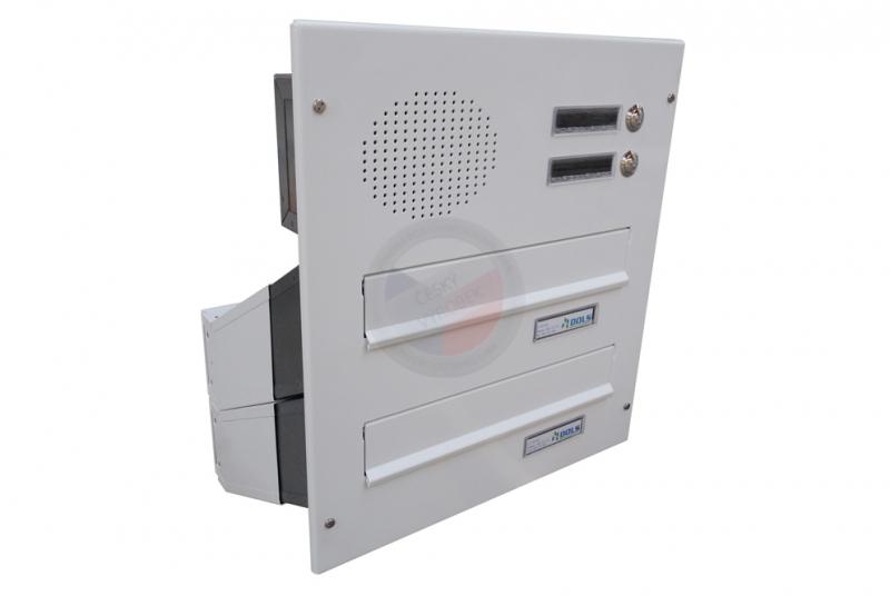 VÝPRODEJ - 2x poštovní schránka D-041 šikmá k zazdění do sloupku + čelní deska s 2x zvonkem a přípravou pro HM - RAL 9016 bílá