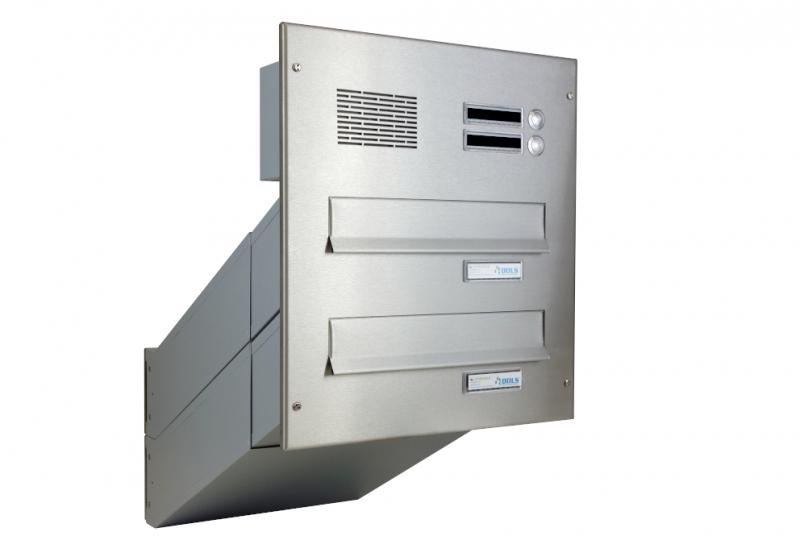 POŠTOVNÍ SCHRÁNKY DO SLOUPKU OPLOCENÍ - 2x poštovní schránka D-042 k zazdění do sloupku + čelní deska s 2x zvonkem a HM ABB - NEREZ / šedá