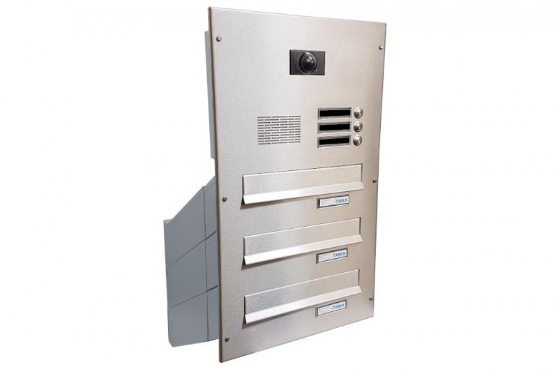 POŠTOVNÍ SCHRÁNKY DO SLOUPKU OPLOCENÍ - 3x poštovní schránka D-041 k zazdění do sloupku + čelní deska s 3x zvonkem a kamerou ABB - NEREZ / šedá