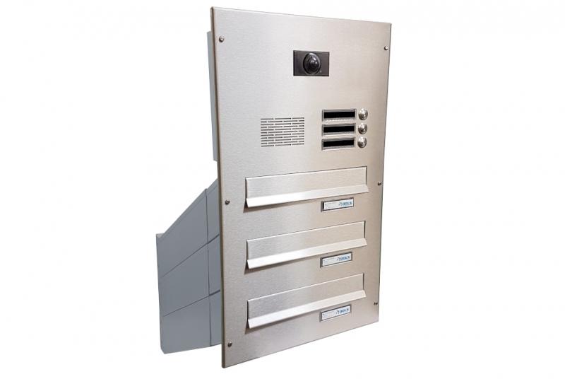 POŠTOVNÍ SCHRÁNKY DO SLOUPKU OPLOCENÍ - 3x poštovní schránka D-042 k zazdění do sloupku + čelní deska s 3x zvonkem a kamerou ABB - NEREZ / šedá