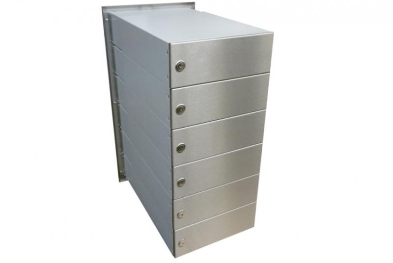POŠTOVNÍ SCHRÁNKY DO SLOUPKU OPLOCENÍ - 6x poštovní schránka B-042 rovná k zazdění do sloupku v jednom sloupci + čelní deska - NEREZ