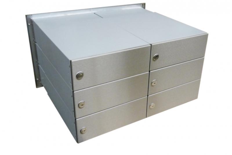 POŠTOVNÍ SCHRÁNKY DO SLOUPKU OPLOCENÍ - 6x poštovní schránka B-042 rovná k zazdění do sloupku ve dvou sloupcích + čelní deska - NEREZ