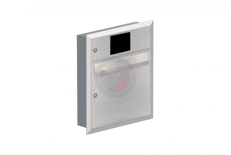 POŠTOVNÍ SCHRÁNKY DO SLOUPKU OPLOCENÍ - 1x poštovní schránka A-01 k zazdění do sloupku + elektro schránka s přípravou pro BTICINO + orámování L profilem - NEREZ