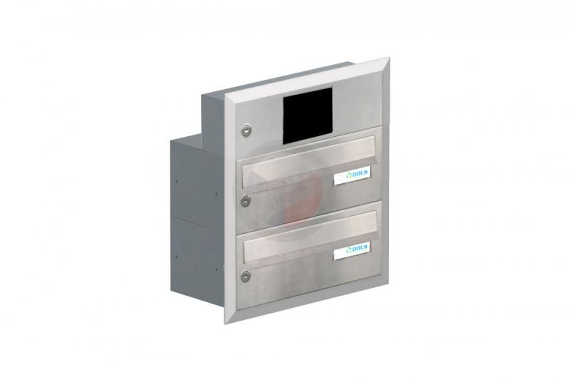 POŠTOVNÍ SCHRÁNKY DO SLOUPKU OPLOCENÍ - 2x poštovní schránka B-015 k zazdění do sloupku + elektro schránka s přípravou pro BTICINO + orámování L profilem - NEREZ