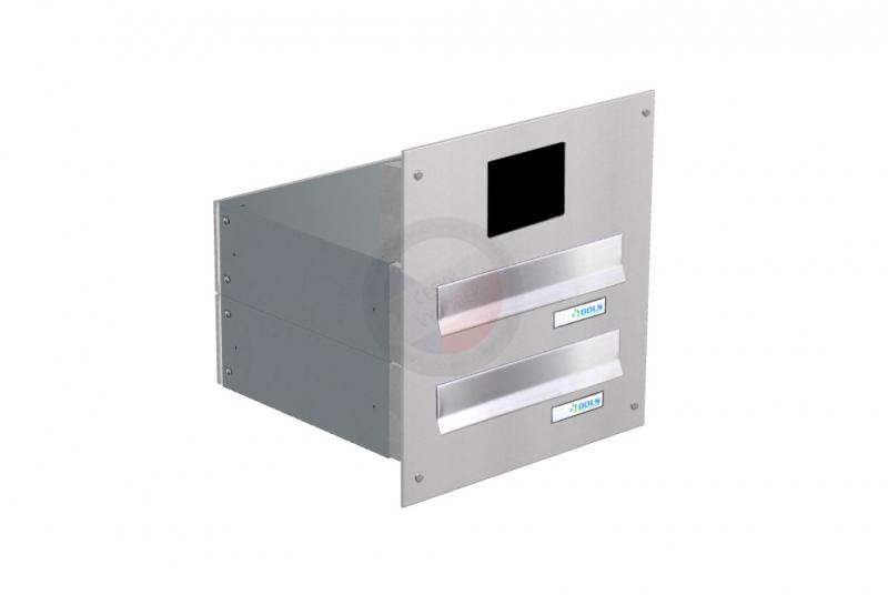 POŠTOVNÍ SCHRÁNKY DO SLOUPKU OPLOCENÍ - 2x poštovní schránka B-042 rovná k zazdění do sloupku + čelní deska s přípravou pro BTICINO - NEREZ