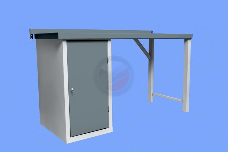 DÍLENSKÉ PRACOVNÍ STOLY - Dílenský pracovní stůl s jednou stolovou skříňkou s policemi
