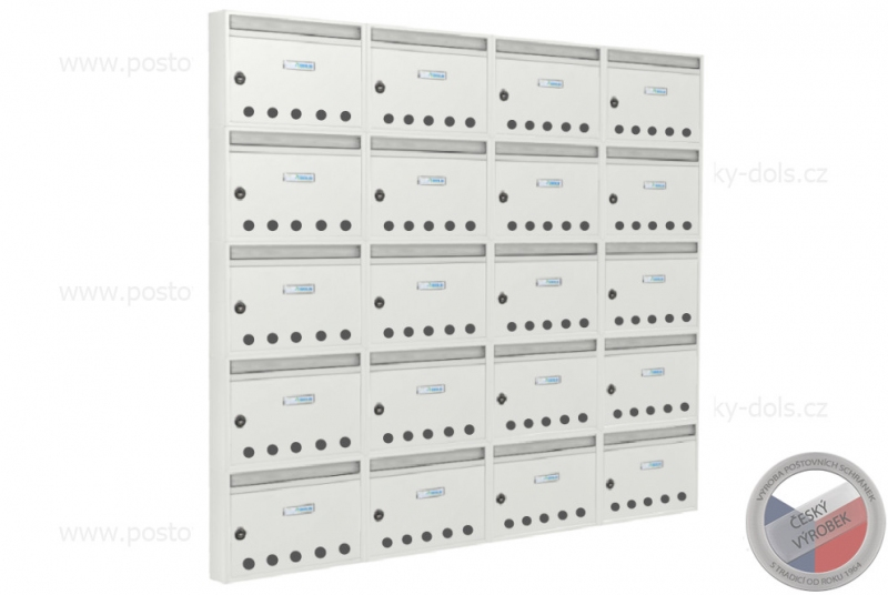 VÝPRODEJ - Nástěnná sestava z E-01 BASIC s otvory RAL 9016 (4x5)