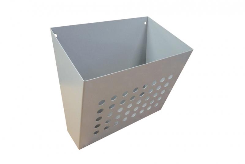 ZÁSOBNÍKY A KOŠE NA LETÁKY - Nástěnný děrovaný košík (šířka 300 mm)- zásobník na prospekty, letáky, tiskoviny, reklamní tisk - RAL standardní