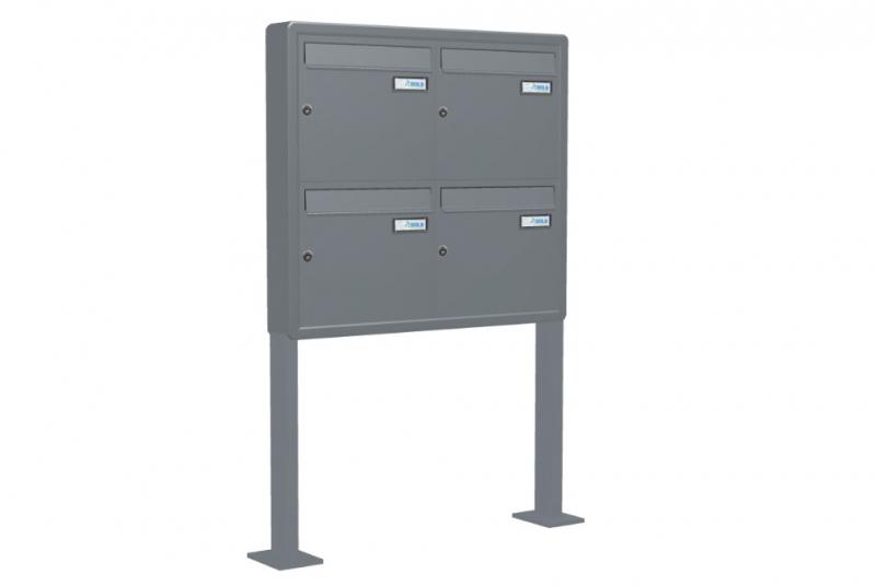 SESTAVY POŠTOVNÍCH SCHRÁNEK - Poštovní schránka A-01 - volně stojící ve stojanu z Al profilu se zaoblenými rohovníky - RAL standardní